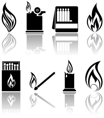 quemadura: Conjunto de iconos de un incendio, ilustraci�n