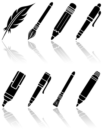 feather pen: Set of black paint icons, illustration