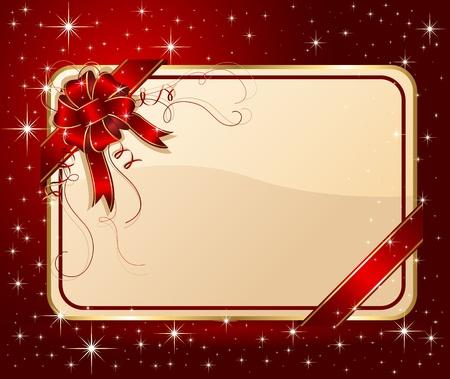 Giftcard met rood lint en boog, illustratie Vector Illustratie
