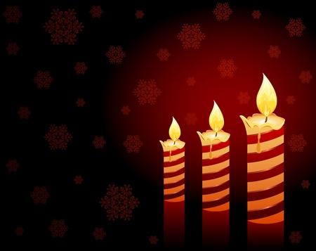wax glossy: Burning candles and falling snowflakes, illustration