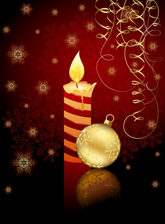 trumpery: Burning candle, Christmas ball, tinsel and snowflakes, illustration