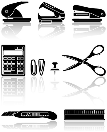 Set of black Office icons, illustration Stock Vector - 9398402
