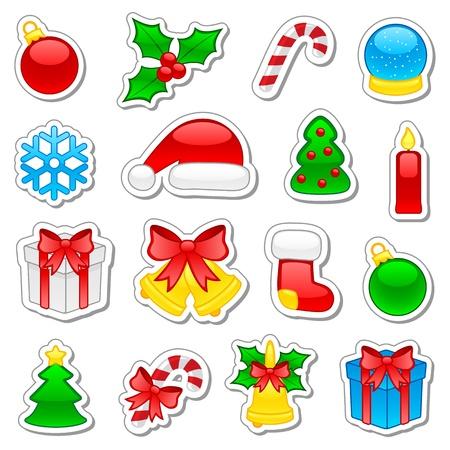 muerdago: Conjunto de iconos de Navidad, ilustraci�n