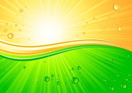 Sunburst background with drops, illustration Vector