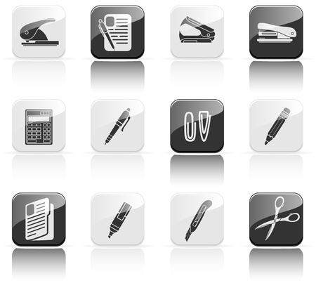 Set of black Office icons, illustration Vector