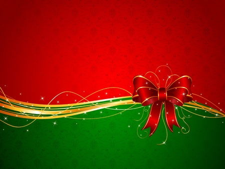 red  green: Background with red bow, illustration