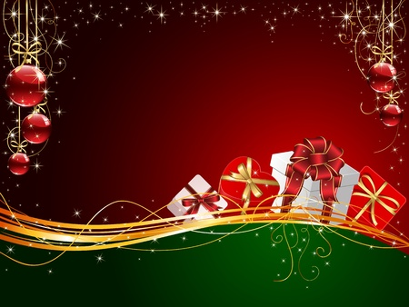 scintillation: Christmas background with Gift boxes and balls, illustration