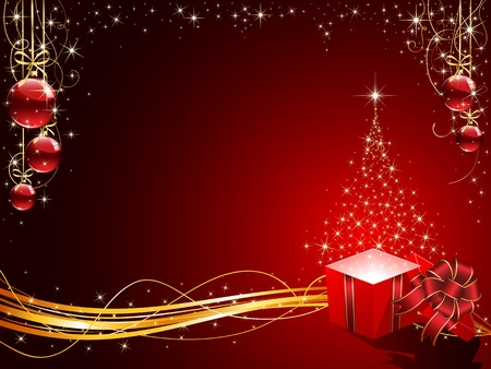 Background with Christmas tree, Gift box and balls, illustration Vector