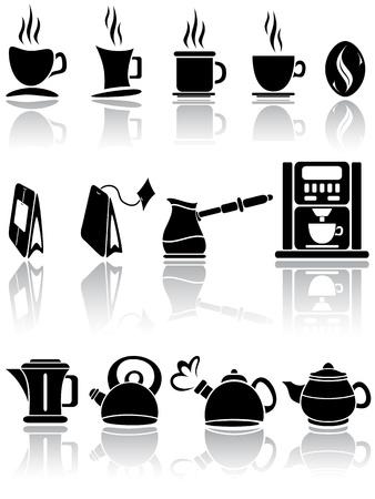 ebullition: Ensemble d'ic�nes caf� et le th�, l'illustration Illustration