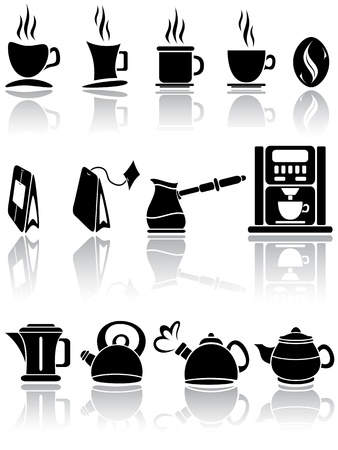 kettle: Set of coffee and tea icons, illustration  Illustration