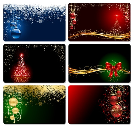 Set of cards with Christmas tree, balls, stars and snowflakes, illustration