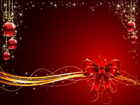 spangle: Background with red bow and Christmas balls, illustration Illustration