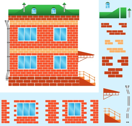 The brick house with windows and a porch, illustration Vector