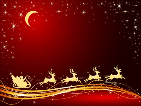 Christmas background with Santa's sleigh, illustration Vector