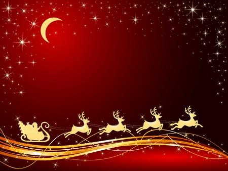 papa noel en trineo: Fondo de Navidad con trineo de Santa, ilustraci�n Vectores