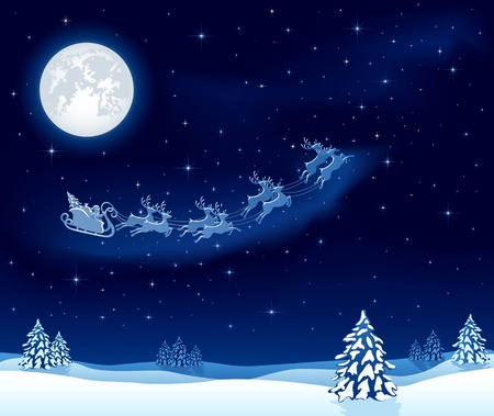 reindeers: Christmas background with Santa's sleigh, illustration Illustration