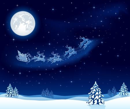reindeer silhouette: Christmas background with Santa's sleigh, illustration Illustration