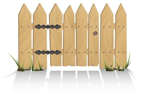 portones: Valla de madera con una puerta, ilustraci�n Vectores
