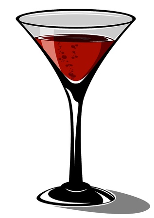 nightclub bar: Red cocktail in a glass for martini on white background, illustration Illustration