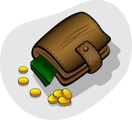 Money in a wallet, illustration Vector
