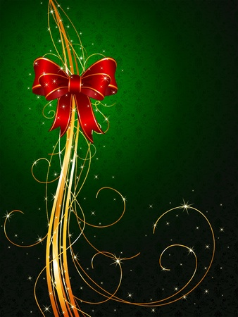 Background with red bow and tinsel, illustration Vector