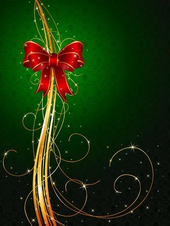 moños navideños: Fondo con lazo rojo y Oropel, ilustración