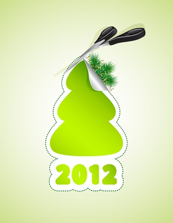 Scissors cut out a Christmas tree, illustration Stock Vector - 9716917