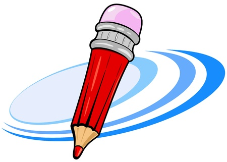 Red cartoon pencil with eraser, illustration Stock Vector - 9801067