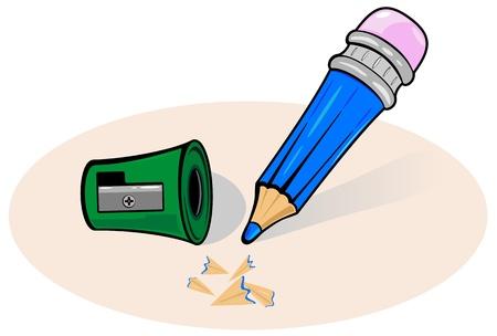 sacapuntas: L�piz de dibujo animado azul con sacapuntas, ilustraci�n