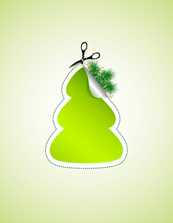Scissors cut out a Christmas tree, illustration Vector