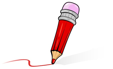 colored pencils: Red cartoon pencil with eraser, illustration Illustration