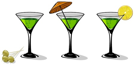aperitif: Green cocktail in a glass for martini on white background, illustration