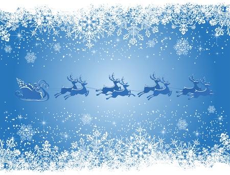 Christmas background with Santa's sleigh, illustration Vector