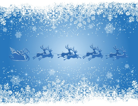 Christmas background with Santa's sleigh, illustration Stock Vector - 9801078