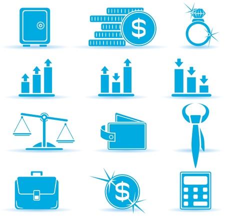 rekenmachine: Set van financiën iconen, illustratie Stock Illustratie