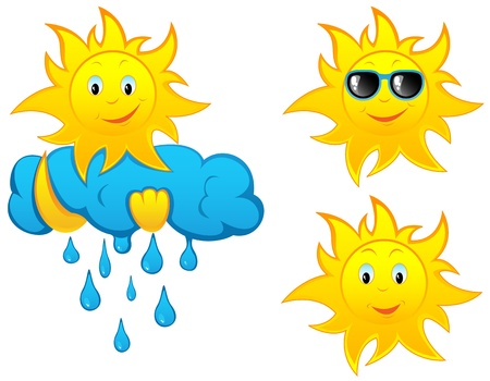 Set of cartoon sun, illustration Vector