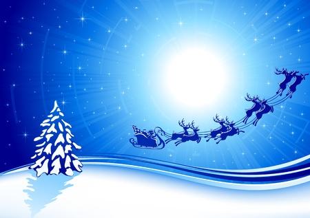 papa noel en trineo: Fondo con trineo de Santa, �rboles de Navidad y estrellas, ilustraci�n Vectores
