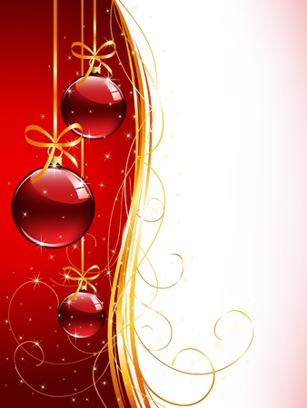 Background with red Christmas balls and tinsel, illustration Vector