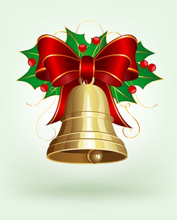 Christmas bell with holly and bow Stock Vector - 10051375