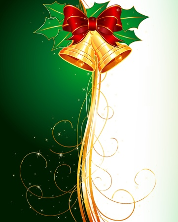Christmas bells with holly and bow on green background Ilustrace