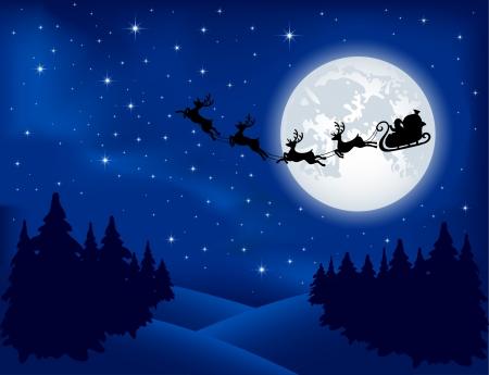 renna: Sfondo con la slitta di Babbo Natale, albero di Natale e stelle, illustrazione