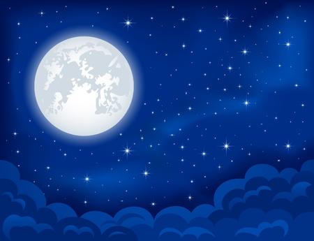 Fondo de la noche, la luna, las nubes y las estrellas brillantes en el cielo azul oscuro, ilustración Ilustración de vector