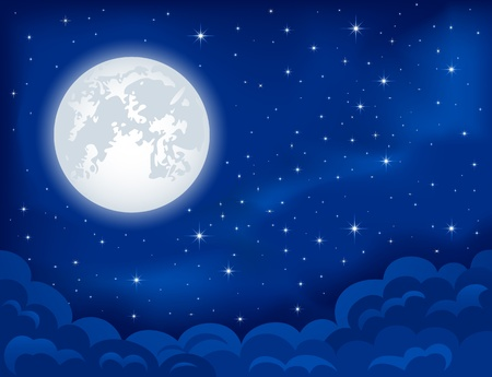 himmelsblå: Natt bakgrund, månen, moln och lysande stjärnor på mörkblå himmel, illustration