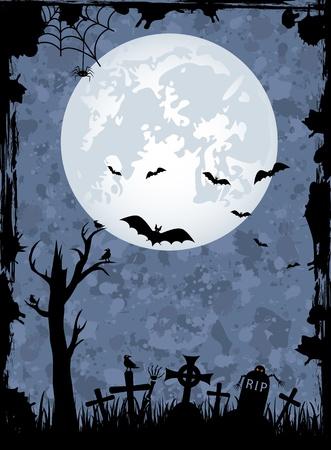 memorial cross: Fondo de la noche de Halloween grunge, ilustración Vectores