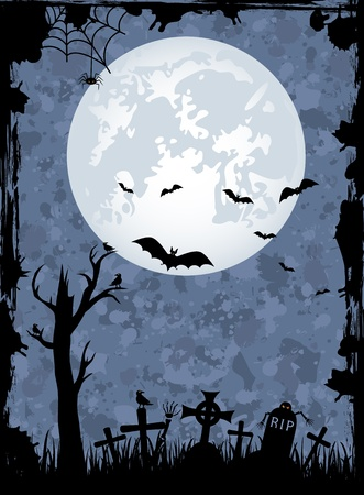 spiderweb: Grunge Halloween night background, illustration