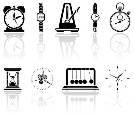 reloj de pendulo: Conjunto de iconos de tiempo negro, ilustración