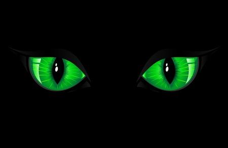 Dos ojos de gato verde sobre fondo negro, ilustración Foto de archivo - 10362953