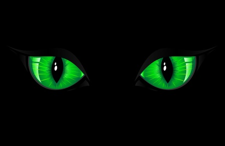 Two green cat eyes on black background, illustration