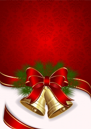 ribbons hang: Christmas background with two bells, illustration