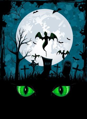 cementerios: Grunge de fondo la noche de Halloween, ilustraci�n Vectores
